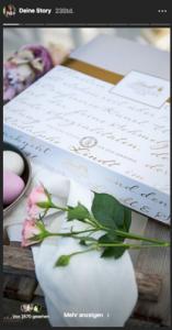 Instagram Story mit Rosen und Schokoladenverpackung