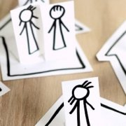 Menschen in Häuser Zeichnung