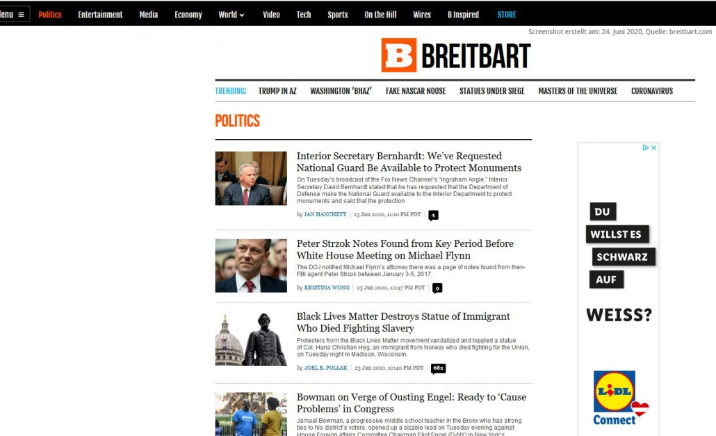 Screenshot von BREITBART Webseite