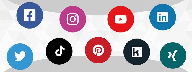 Social Media Kanäle Logo Icons