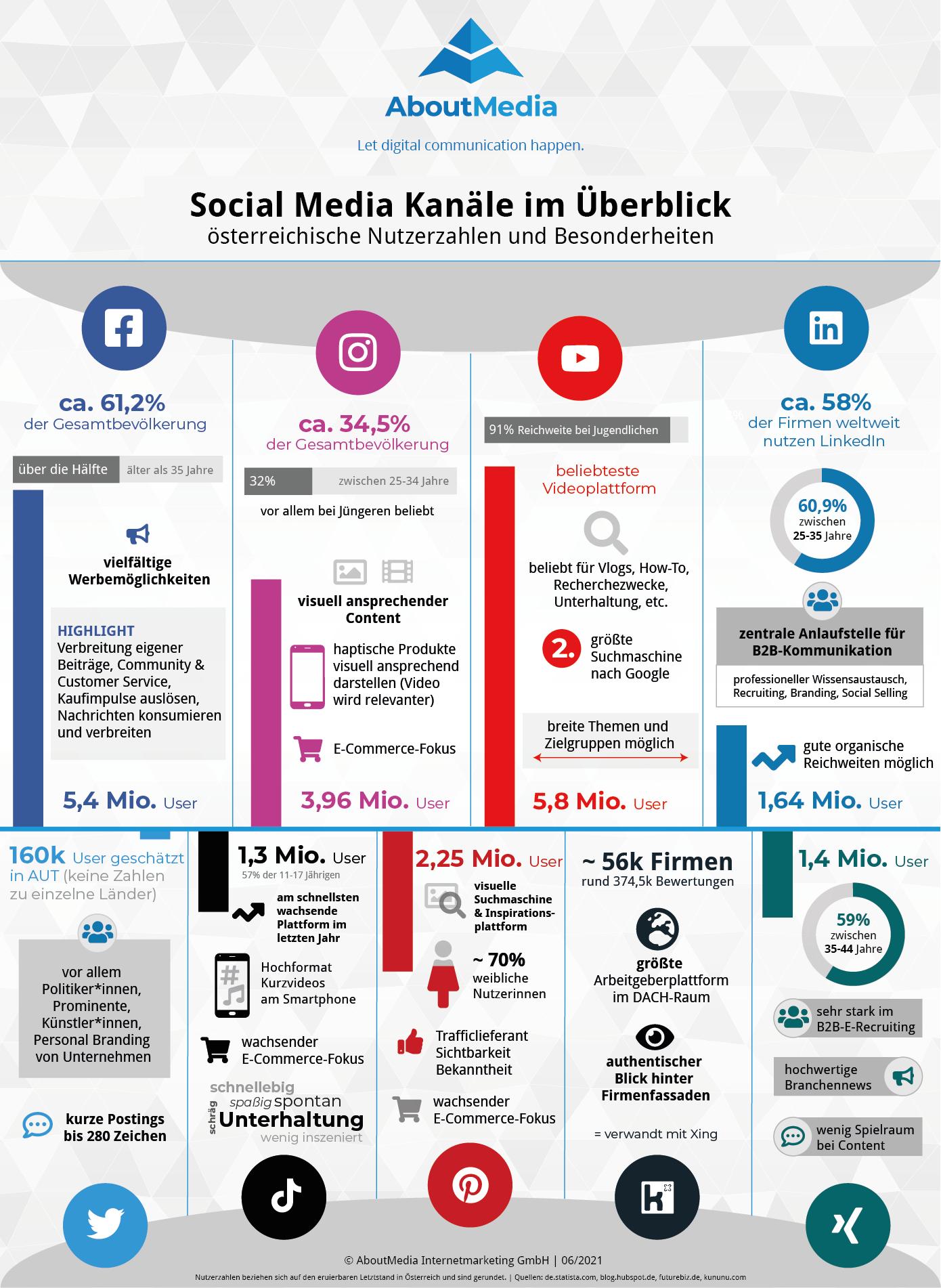 Infografik mit Nutzerzahlen und Infos Social Media Kanäle